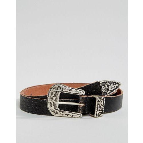 ASOS Leather Slim Belt In Vintage Brown With Western Buckle - Brown