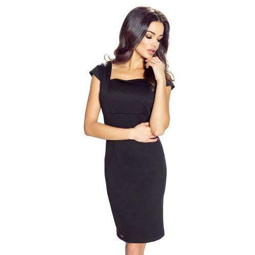 Czarna Sukienka Mini z Dekoltem Karo, w 4 rozmiarach