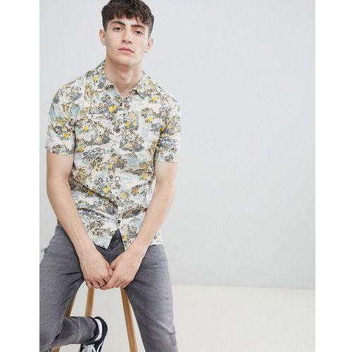 D-Struct Tropical Print Short Sleeve Shirt - Pink