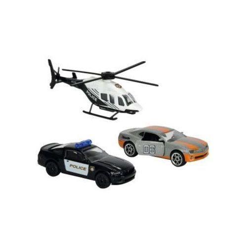 Majorette Policja Pojazdy Pościg policyjny z czarno-białym helikopterem