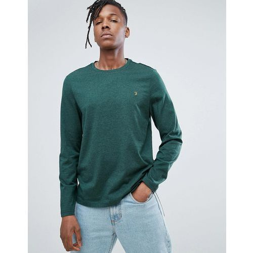 denny slim fit long sleeve logo t-shirt in green marl - green, Farah, XS-S