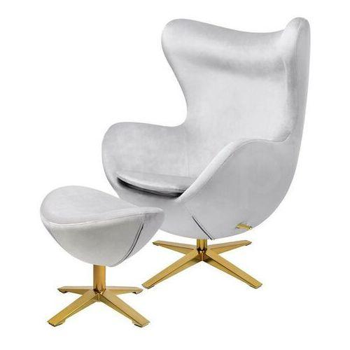 Fotel EGG SZEROKI VELVET GOLD z podnóżkiem jasny szary.37 - welur, podstawa złota, kolor szary