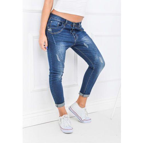 Ciemne rurki jeansy baggy na guziki z przetarciami, rurki