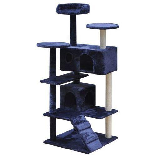 Vidaxl  drapak dla kota z 2 domkami 130 cm granatowy (8718475940555)