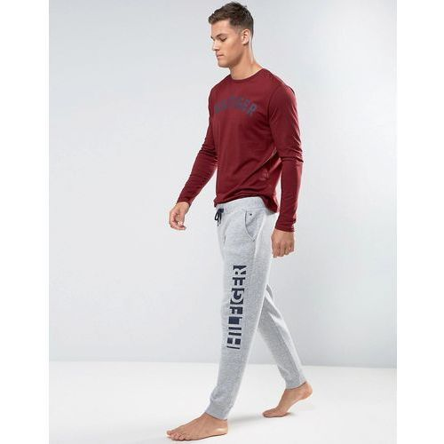Tommy hilfiger cuffed joggers leg logo in grey heather - grey