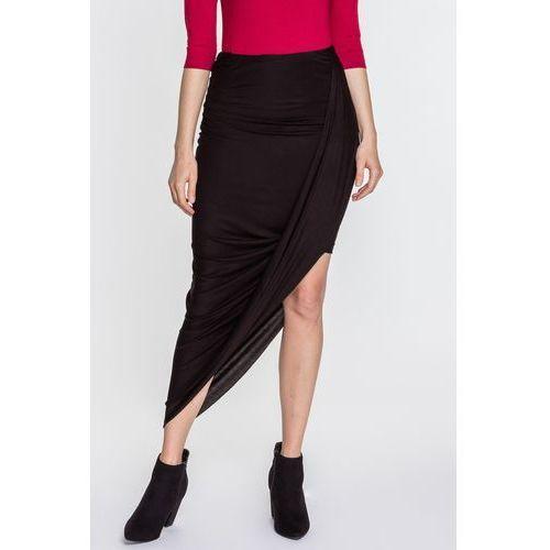 Skośna spódnica dzianinowa - Margo Collection, kolor czarny