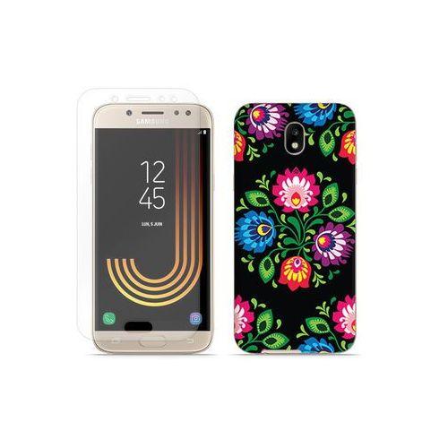 Samsung Galaxy J7 (2017) - etui na telefon Full Body Slim Fantastic - czarna łowicka wycinanka, kolor czarny