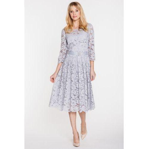 Sukienka z szarej koronki - GaPa Fashion, kolor szary