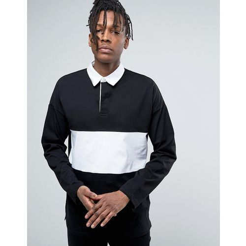 Asos  oversized long sleeve rugby polo shirt with contrast panel in black - black