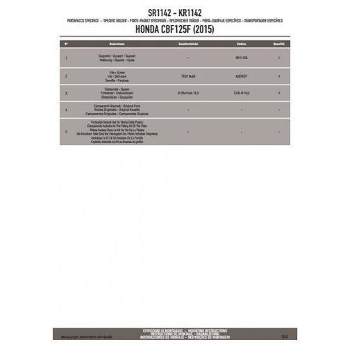 KAPPA STELAŻ KUFRA CENTRALNEGO HONDA CB 125F (2015) (BEZ PŁYTY)