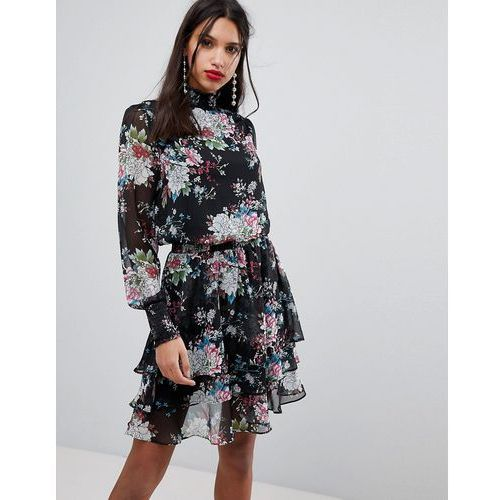 Y.A.S High Neck Bold Floral Dress - Multi, w 2 rozmiarach