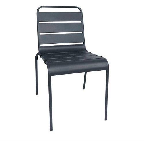 Krzesło stalowe szare | 4 szt. | 47x57x(h)83cm marki Bolero