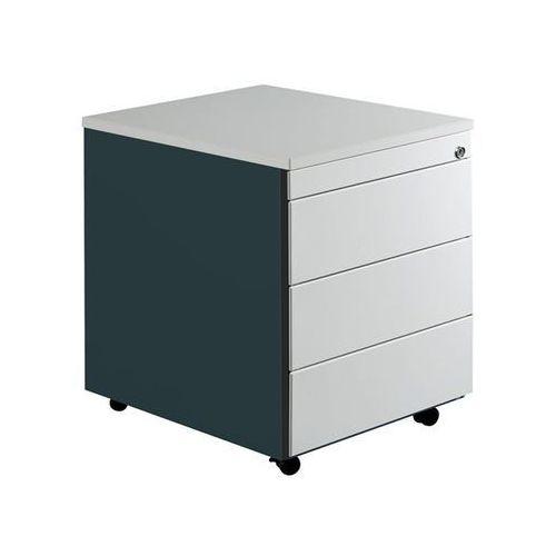 Kontener szufladowy na rolkach, wys. x głęb. 579x600 mm, płyta z tworzywa, 3 szu