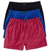 Szerokie bokserki (3 pary) bonprix czarny + niebieski + czerwony