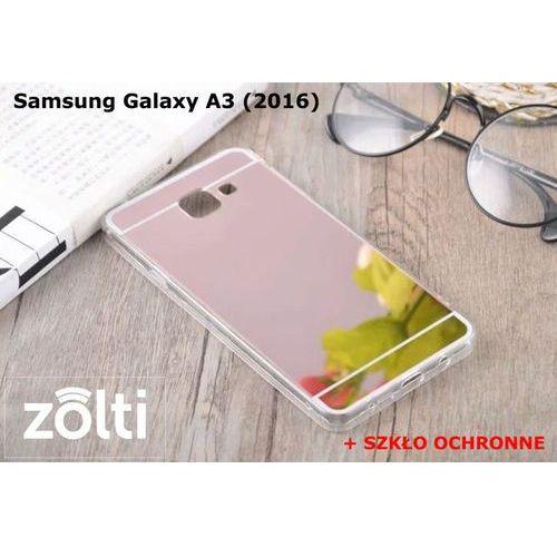 Zestaw   Slim Mirror Case Różowy + Szkło ochronne Perfect Glass   Etui dla Samsung Galaxy A3 (2016)