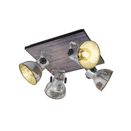 Plafon Eglo Barnstaple 49653 lampa sufitowa oprawa spot 4x40W E27 czarny / brązowa patyna