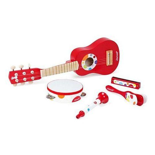 Instrumenty muzyczne dla dzieci czerwony zestaw confetti  marki Janod