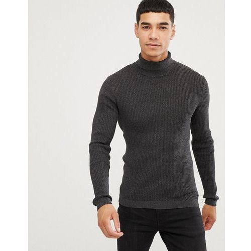 rib knit muscle fit roll neck jumper in black - black, Esprit