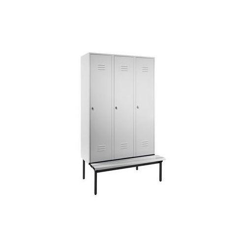 Szafka na ubrania z ławeczką u dołu,pełne drzwi, szer. przedziału 400 mm, 3 przedziały