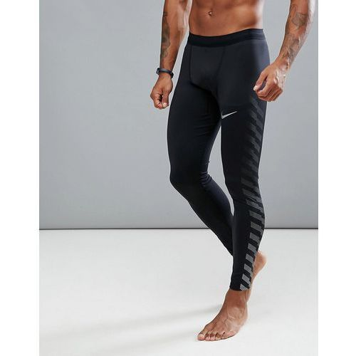 Nike running power tech flash reflective tights in black 859268-010 - black