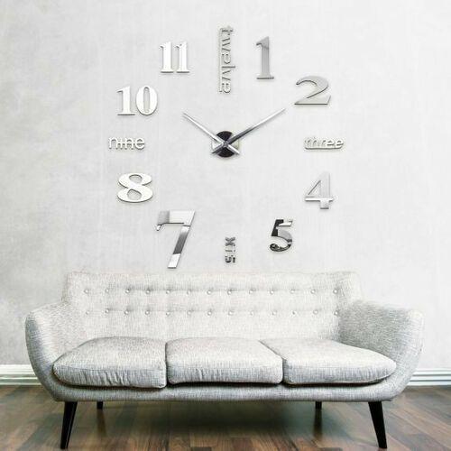 Nowoczesny duży zegar srebrny ANGIELSKI większa niż 50 cm srebrny