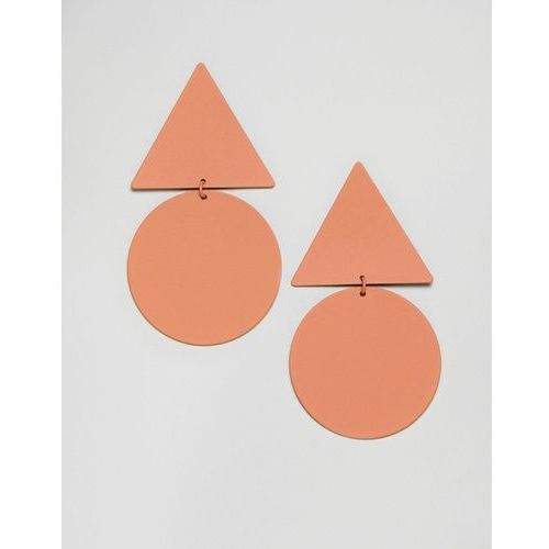 Mango disc and triangle earrings - orange