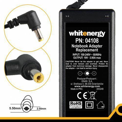 zasilacz 19v 3.95a 75w wtyczka 5.5 x 2.5 mm marki Whitenergy