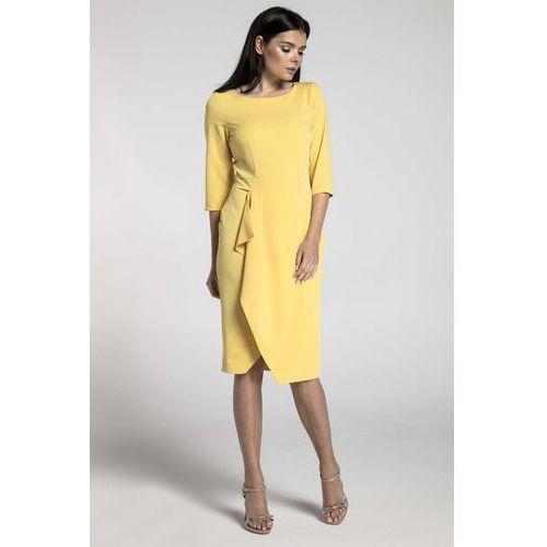 Nommo Żółta elegancka sukienka z zakładanym dołem