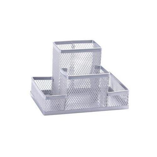 Q-connect Przybornik na biurko office set, metalowy, 4 komory, srebrny (5705831151130)