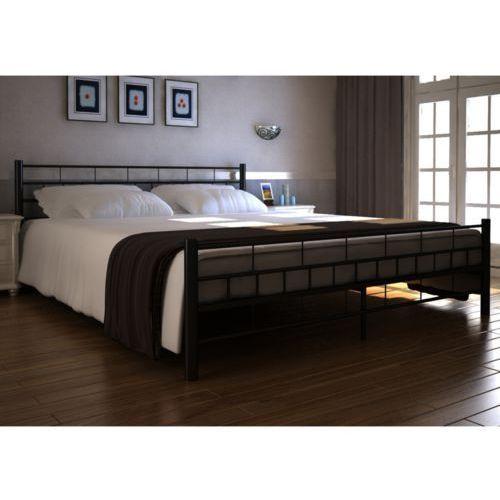 vidaXL Czarne, metalowe łóżko, 140 x 200 cm + materac z pianki anatomicznej. (8718475892021)