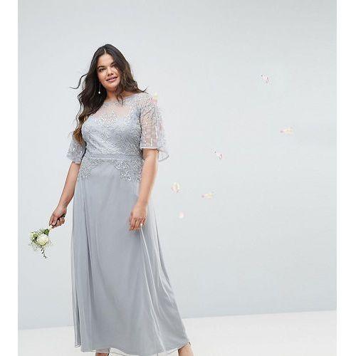 ASOS CURVE Wedding Embellished Lace Insert Flutter Sleeve Maxi Dress - Grey