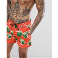 BOSS Threadfin Swim Shorts in Watermelon Print - Red