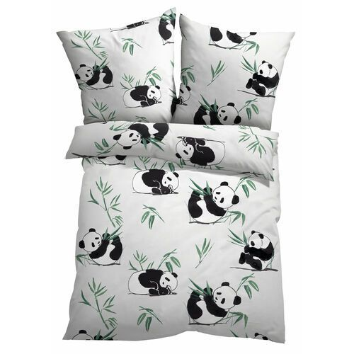 Pościel z nadrukiem w misie panda bonprix biały