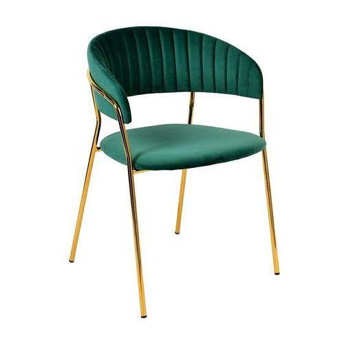 Krzesło margo ciemny zielony - welur, podstawa złota marki King home