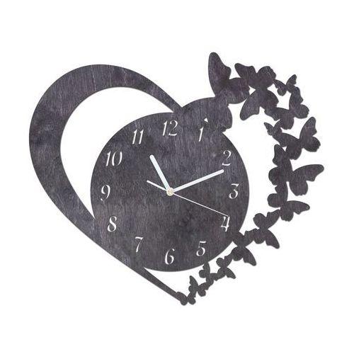 Congee.pl Drewniany zegar na ścianę serce z motylkami z białymi wskazówkami (5907509933240)