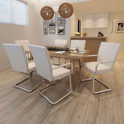 vidaXL Nowoczesne krzesła jadalniane, biała eko skóra x6