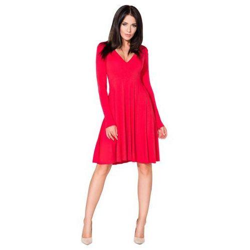 Czerwona Sukienka Rozkloszowana Midi z Dekoltem w Szpic, w 5 rozmiarach