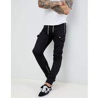 boohooMAN Cargo Trousers With Drawstring In Black - Black, 1 rozmiar