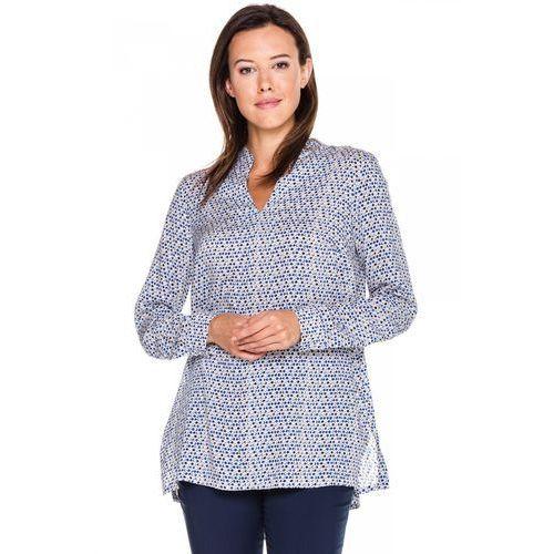 Bluzka w niebieskie groszki z długim rękawem -  marki Duet woman