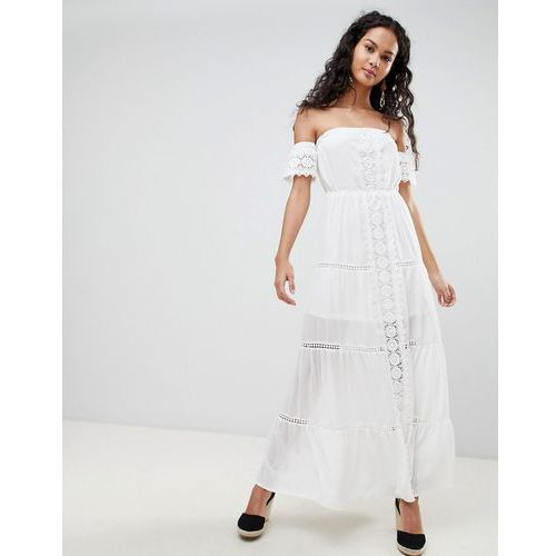 off shoulder crochet maxi dress - white marki Parisian