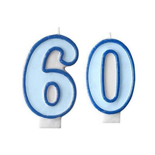 Świeczki cyferki błękitne - 60 - sześćdziesiątka - 2 szt. marki Party deco