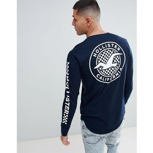 checkerboard back print logo and sleeve logo long sleeve top in navy - navy marki Hollister