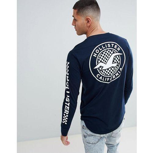 Hollister Checkerboard Back Print Logo and Sleeve Logo Long Sleeve Top in Navy - Navy, 1 rozmiar