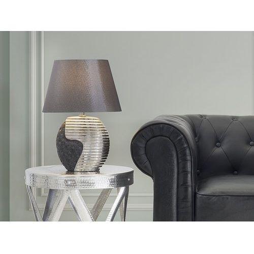 Beliani Nowoczesna lampka nocna - lampa stojąca - czarno-srebrna - esla