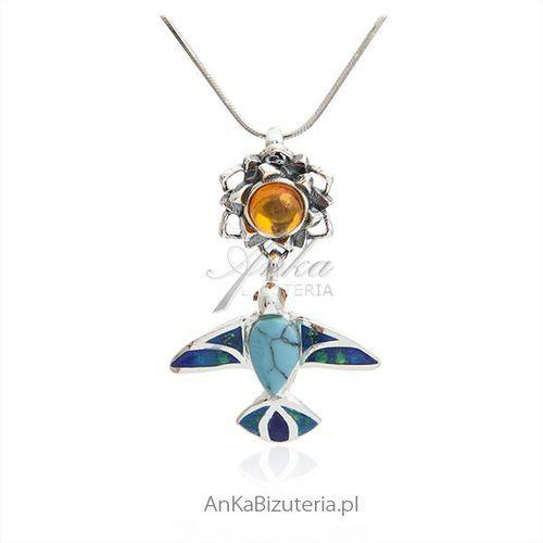 Zawieszka srebrna z bursztynem i niebieskim turkusem - Jaskółka na słoneczniku