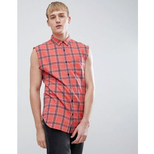 New Look Sleeveless Shirt In Regular Fit In Red Check - Red, w 4 rozmiarach