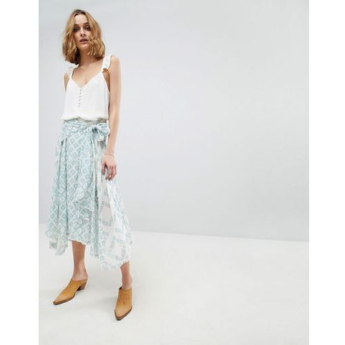 Free People Luna Light Printed Midi Skirt - White, kolor biały