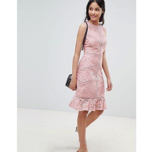 lace crochet trim dress - beige marki New look