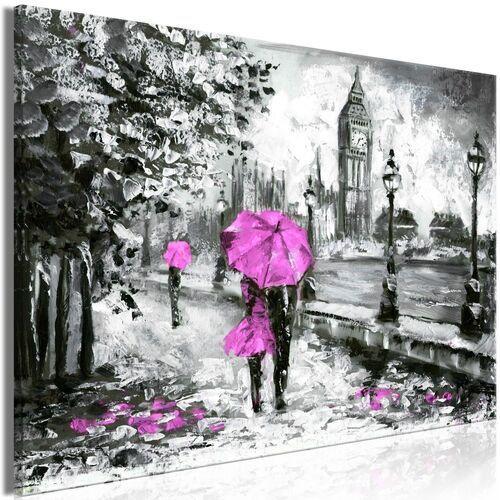 Obraz - spacer w londynie (1-częściowy) szeroki różowy marki Artgeist