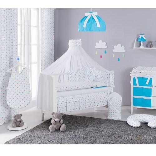 moskitiera baldachim z szarfą z tkaniny gwiazdki szare i niebieskie marki Mamo-tato
